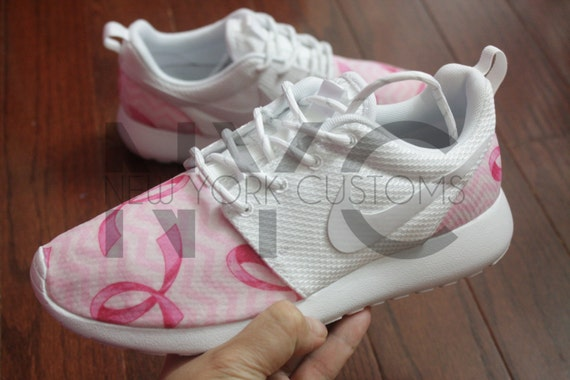 wqzbx Breast Cancer Awareness Pink Ribbons Nike Roshe One by NYCustoms