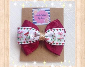 Christmas hair bows, Christmas hair bow clips, Stocking filler, Christmas party, Handmade hair accessories, Christmas hair clips, Xmas bows