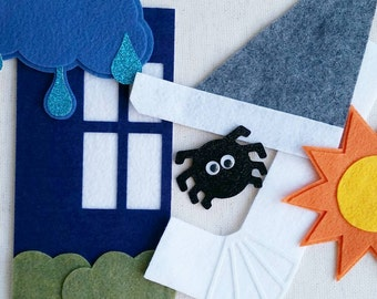 Itsy Bitsy Spider Nursery Rhyme Felt Board Set / Felt Board Pieces, Flannel Board Sets, Circle Time / Preschool / Speech Therapy