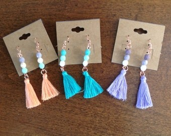 Beaded Copper Boho CottonTassel Earrings