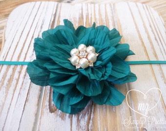 Dark Turquoise Headband - Teal Headband - Blue Newborn Headband - Baby Flower Headband - Bubble Gum Pink Flower - Photography Headband Prop