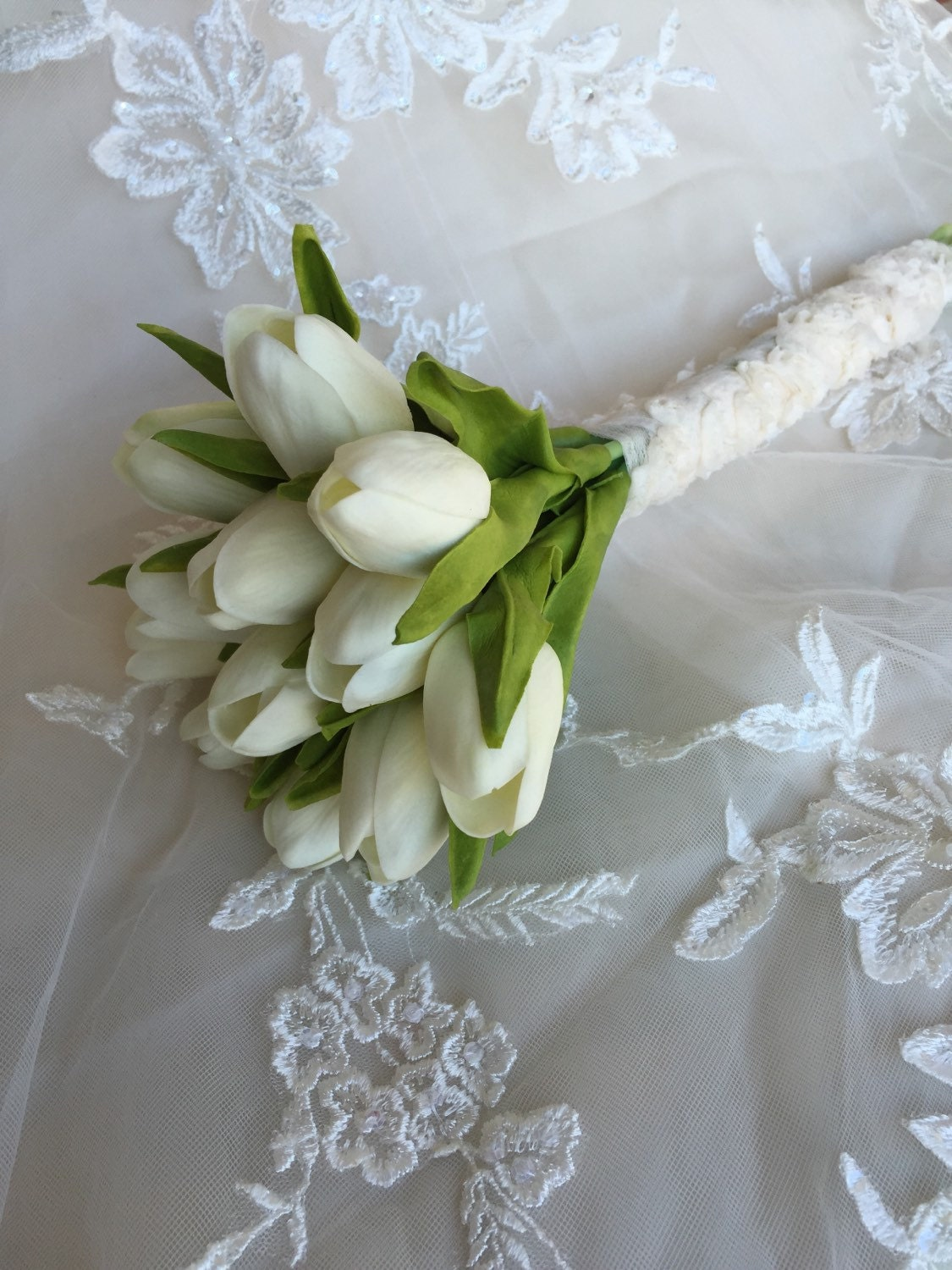 White Tulip Bouquet Real Touch Bouquet Tulip by ...