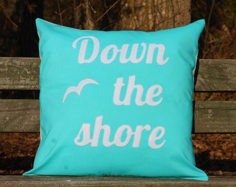 Down the Shore appliqued pillow cover