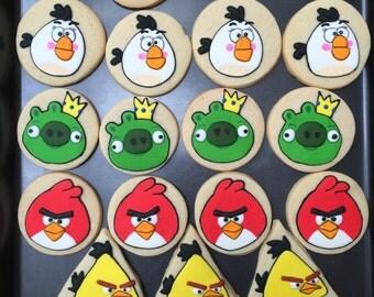 12 BIRDS vanilla sugar cookies - kids birthday party - red bird- king pig - bomb - stella - favors - baked goods - boy/girl