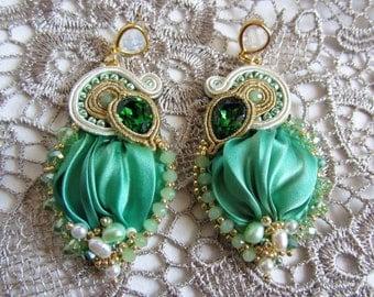 Shibori earrings Embroidery earrings Pendant earrings Prom earrings Elegant soutache and shibori silk earrings