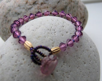 Mauve Crystal Bead Bracelet, Purple Crystals,  Glass Heart Button Fastener, OOAK