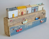Large Driftwood 'Jolly Harbour Cottages' Handmade by Hello Sunshine Designs Cornwall. Cornish, beach art, miniature scene, flotsam.