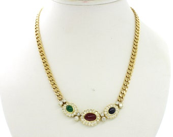 1980s Vintage 18k Yellow Gold 2.5ctw Diamond 2ctw Emerald Ruby Sapphire Necklace