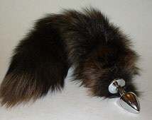 Tail Plug, CAPPUCCINO, Fox Tail, MATURE, Red Fox dyed Brown, Detachable or Permanently Attached, Fetish Wear, Cosplay, Kitty Tail, Neko,bdsm