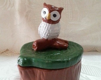 Hand Painted Owl Trinket Boxes
