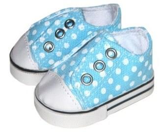American Girl Doll Shoes - Aqua Blue Dot Laceless Sneakers