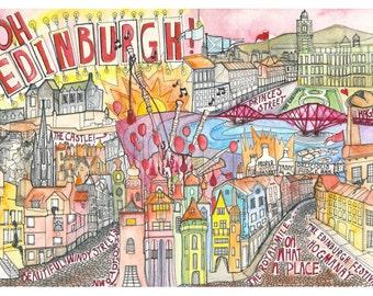 Illustration / Map of the city of Edinburgh, Scotland