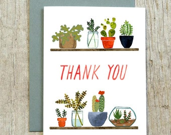 Succulents Thank You Card by Little Truths Studio