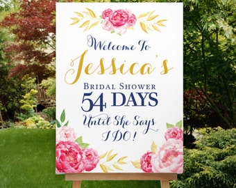 Bridal Shower Countdown Sign, Bridal Shower Sign, Reception Sign, Floral Welcome Sign, Boho, Pink Gold, The Pink Stinson Collection