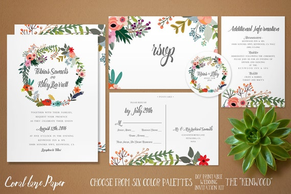 Printable Wedding Invitations Kits: DIY Wedding Invitation Kit Printable Rustic By CoralLanePaper