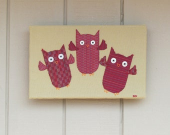 Three Red Owls Flying Framed Wall Art