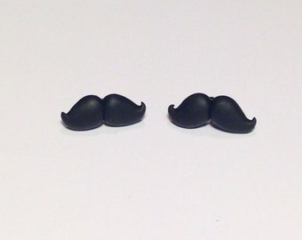 Handmade polymer clay ooak black fancy mustache stud earrings