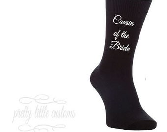 Cousin of the Groom print wedding party socks/gift/favour/stag night
