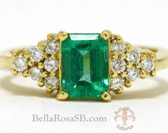 Elegant Emerald Engagement Ring Cluster Diamond Vintage Fine Estate Jewelry Emerald Cut Large Gem Yellow Gold Certified Appraisal Included