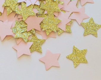 twinkle twinkle little star confetti, pink and gold party decorations, princess party decor, glitter stars, gold stars, 100CT, quinceanera