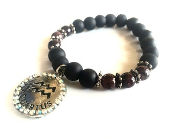 Aquarius Bling  Zodiac Charm Bracelet with Garnet
