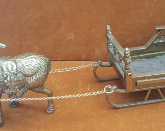 brass sleigh and reindeer