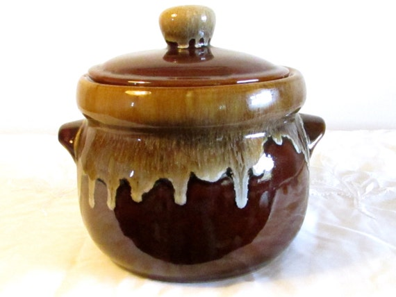 Drip ware Pottery Bean Pot, Vintage Bean Pot, Kitchen Decor, Brandied Fruit Crock, Made in Taiwan Brown Drip Pottery, laslovelies