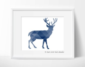 Blue Deer Print, Triangle Geometric Wall Art, Woodland Nursery, Playroom Decor
