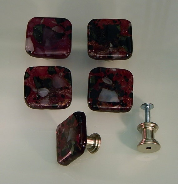 Glass Kitchen Cabinet Door Knobs: Decorative Colored Art Fused Glass Cabinet Door Knobs
