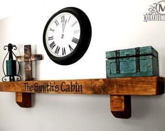 Shelving.living room mantel.barn beam.fireplace mantel barn wood.reclaimed wood.shelves.mantel.barn beam mantel.Floating shelf (8in Mantel)