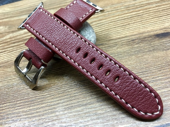 Apple Watch Band, Apple Watch Strap, Red Leather Watch Band, Leather Watch Strap, Black Friday Sale, Apple Watch 38mm, Apple watch 42mm