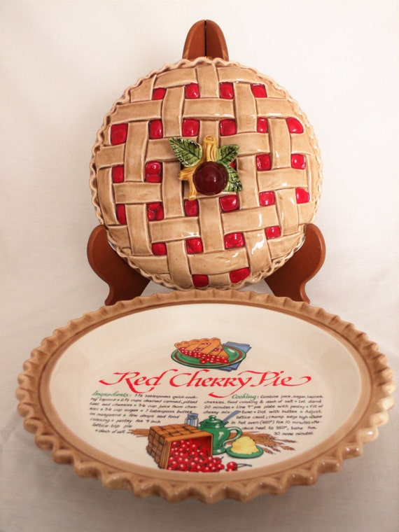 Ceramic Pie Pan With Lid 9 Inch Pie Pan Vintage Cherry Pie