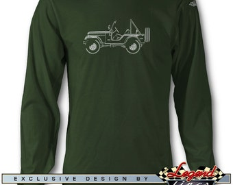 Jeep CJ5 CJ-5 1954 - 1983 Long Sleeves T-Shirt - Lights of Art - Multiple colors available - Size S - 3 XL - Great American Classic Car Gift