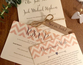 1 Vintage/Rustic 'Ellie-Jade' Chevron design Wedding Invitation Sample with RSVP card and wish card-various colours