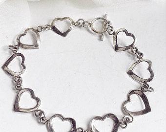 Vintage Jewelry, Heart Sterling Silver Bracelet, Sterling Silver Heart, Link Bracelet,Silver Chain Link Bracelet, Sterling Silver Bracelet