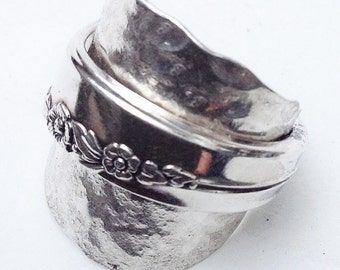 Silver Spoon Ring, Antique Silver Ring, Silver Ring, Hammered  Silver Ring, Thumb Ring, Vintage Silverware Ring, Spoon Ring, Wrap  Ring