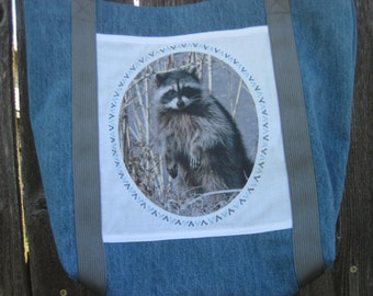 Denim tote bag with Raccoon nature photo