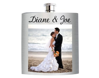 Custom Photo/Picture Flasks for Weddings, Bachelor/Bachelorette Parties, Birthdays