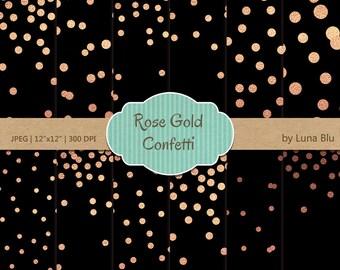 """Confetti Digital Paper: """"Rose Gold Confetti"""" Rose Gold Digital Paper, Black and Rose Gold Foil Scrapbook Paper, Gold Confetti"""