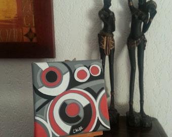 ethnic modern acrylic on canvas red black grey white