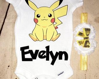 Pikachu bodysuit, pikachu onesie, personalized baby outfit, pikachu shirt, pokemon outfit, pokemon shirt, pokemon baby