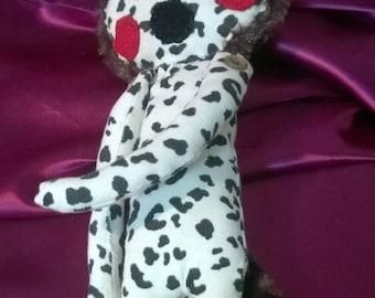 one of a kind cuddly teddy,stuffed animal,designer teddy bear,leopard ,buttons minky fur,hand made