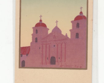 Silkscreen Serigraph Postcard Dubosclard/Sheehan/Unused Santa Barbara During The Day