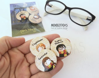 Set of 3 Harry Potter pins  / Hrry, Ron & HermionePins / Set of Harry Potter Pins