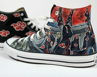 Akatsuki Converse Anime Manga Hand Painted Sneakers Custom Fanart Shoes Character Shoes Womans Converse Mens Personalized Gifts XL size
