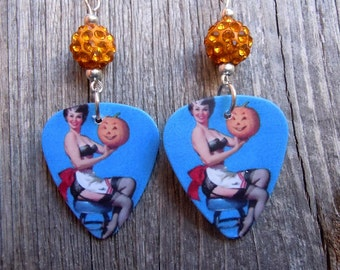 Pin Up Girl with Jack o Lantern Guitar Pick Earrings with Pave Beads