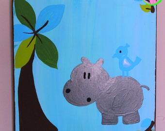 Hippo wall decor, Hippo nursery decor, Jungle nursery decor, Jungle Nursery, Jungle Wall decor, Boy Nursery Decor, Jungle art, Nursery decor