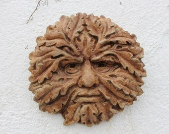 Autumn Wiccan Moon, Stone Wall Decor, Green Man, Made in Cornwall, Cornwall Stoneware, Garden Gift, Home & Living
