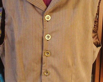 Mens Medium Pinstripe Vest - Ready to Ship