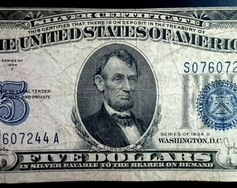 Vintage Solid Grade Circulated 1934 D Silver Certificate Five Dollar Bill Blue seal  banknote